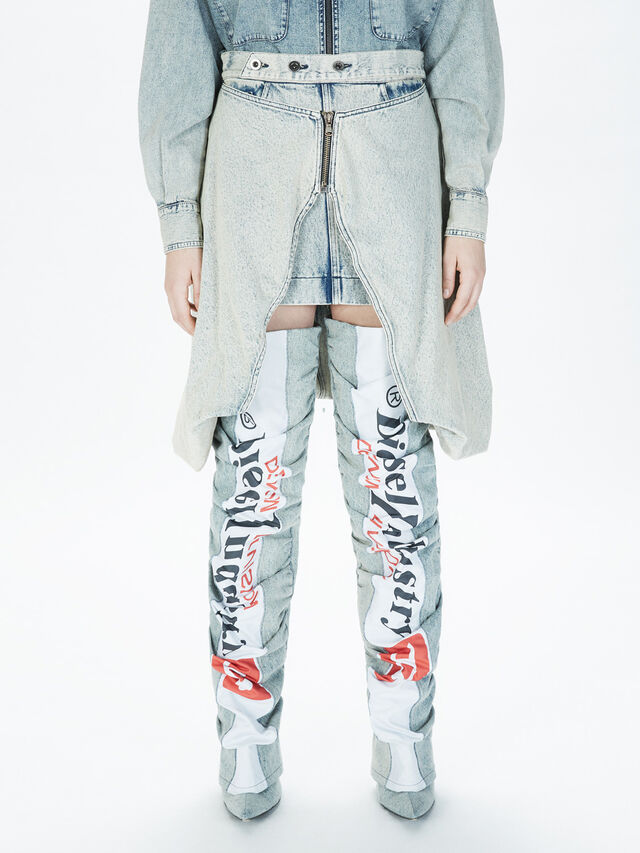 Diesel - SOBS01, Grigio Jeans - Gonne - Image 3