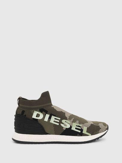 Diesel - SLIP ON 03 LOW SOCK, Verde Camo - Scarpe - Image 1