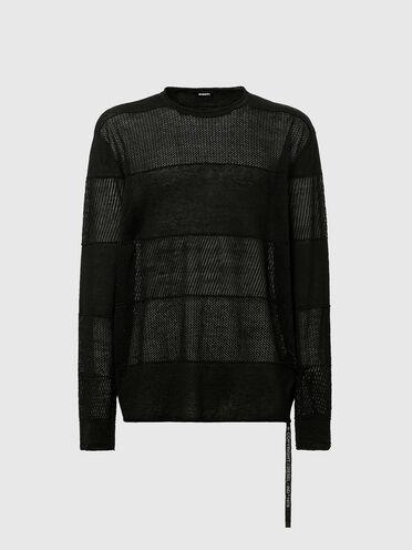 Pullover lavorato a maglia in jersey e con lavorazione pointelle
