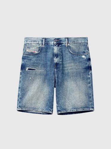 Shorts in denim trattato