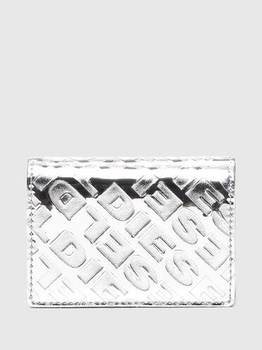 Portafoglio pieghevole in tre parti con stampa emoji goffrata