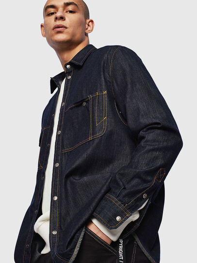 Diesel - D-MILLY, Blu Scuro - Camicie in Denim - Image 4
