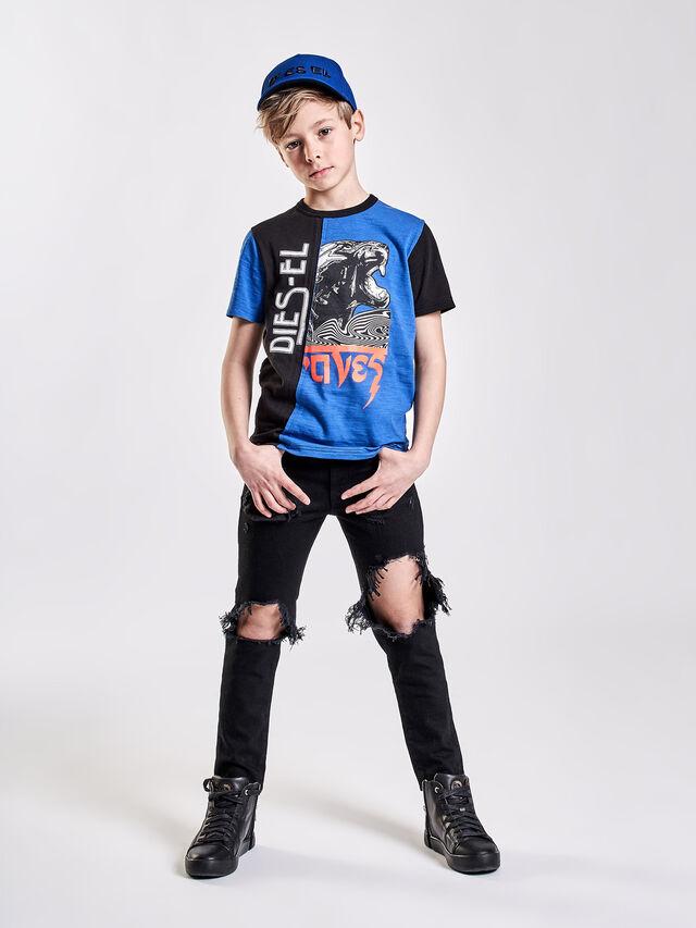 Diesel - TJUSTCUT, Nero/Blu - T-shirts e Tops - Image 3