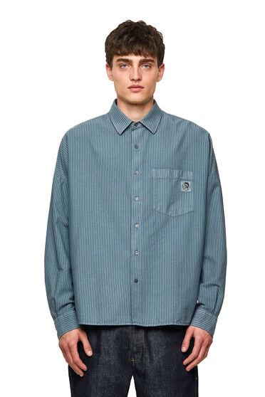 Camicia a righe in cotone Oxford trattato