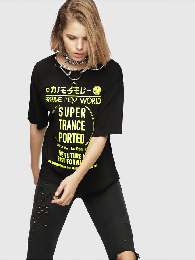 Diesel - T-JACKY-H, Nero/Giallo - T-Shirts - Image 1