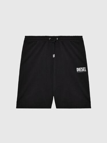 Shorts felpati con stampa logo neon