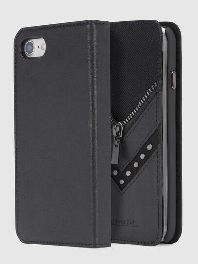 Diesel - BLACK DENIM/STUD/ZIPPER IPHONE 8/7 FOLIO, Nero - Cover a libro - Image 1