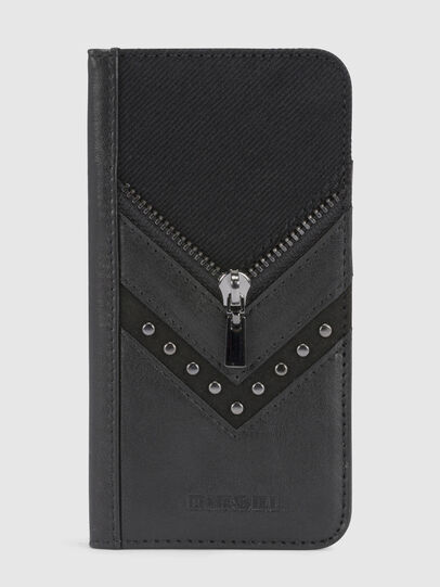 Diesel - BLACK DENIM/STUD/ZIPPER IPHONE X FOLIO, Nero - Cover a libro - Image 2