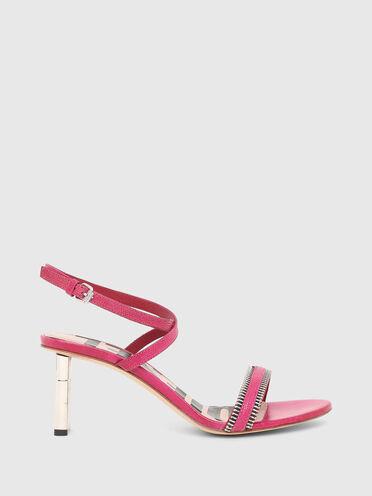 Sandali in pelle con stampa lucertola con tacco medio