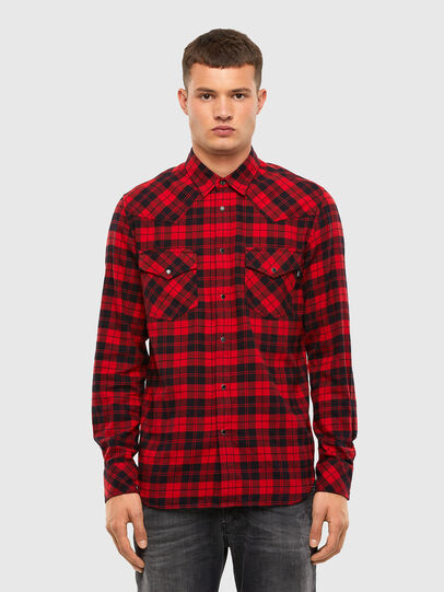 Diesel - S-EAST-LONG-CHK, Nero/Rosso - Camicie - Image 1