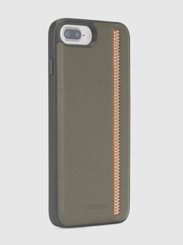 Diesel - ZIP OLIVE LEATHER IPHONE 8 PLUS/7 PLUS/6s PLUS/6 PLUS CASE, Verde Oliva - Cover - Image 4