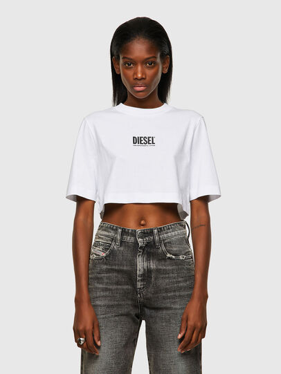 Diesel - T-RECROP-ECOSMALLOGO, Bianco - T-Shirts - Image 1