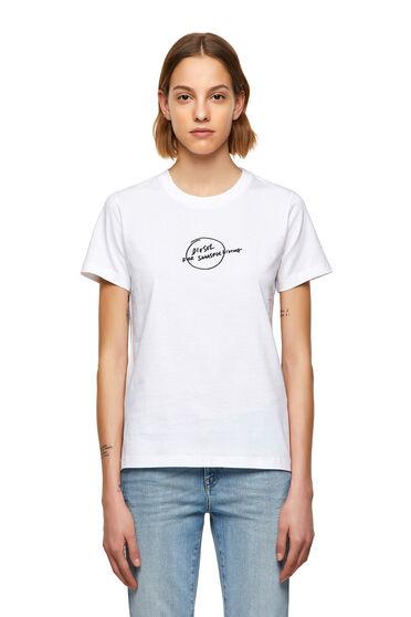 T-shirt con stampa di logo e frase manoscritta