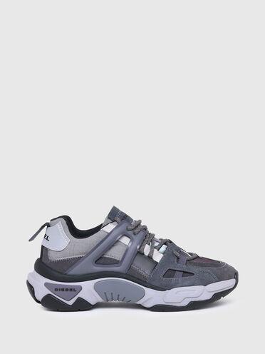 Sneaker in nylon iridescente e pelle scamosciata