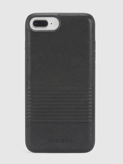 Diesel - BLACK LINED LEATHER IPHONE 8 PLUS/7 PLUS/6s PLUS/6 PLUS CASE, Nero - Cover - Image 2