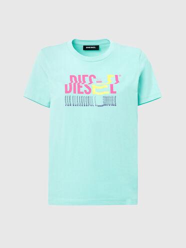 T-shirt in cotone con logo effetto difettato