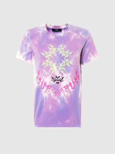 T-shirt con motivo tie-dye e ricami