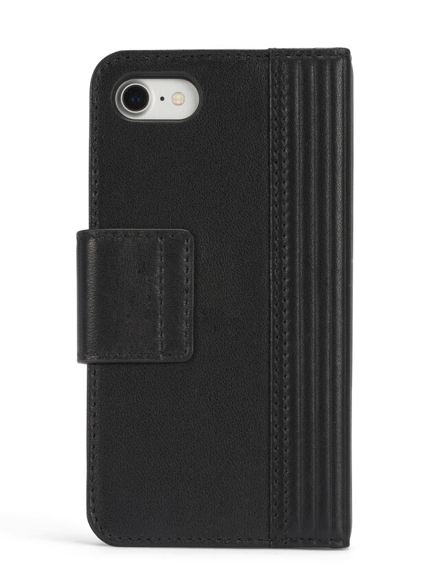 BLACK LINED LEATHER IPHONE 8 PLUS/7 PLUS FOLIO, Nero