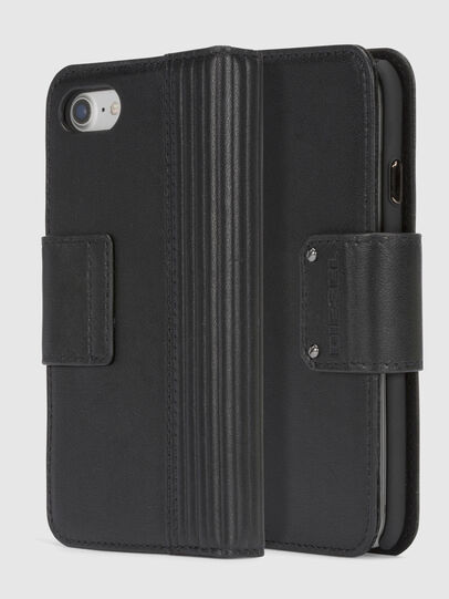 Diesel - BLACK LINED LEATHER IPHONE 8/7 FOLIO, Nero - Cover a libro - Image 1